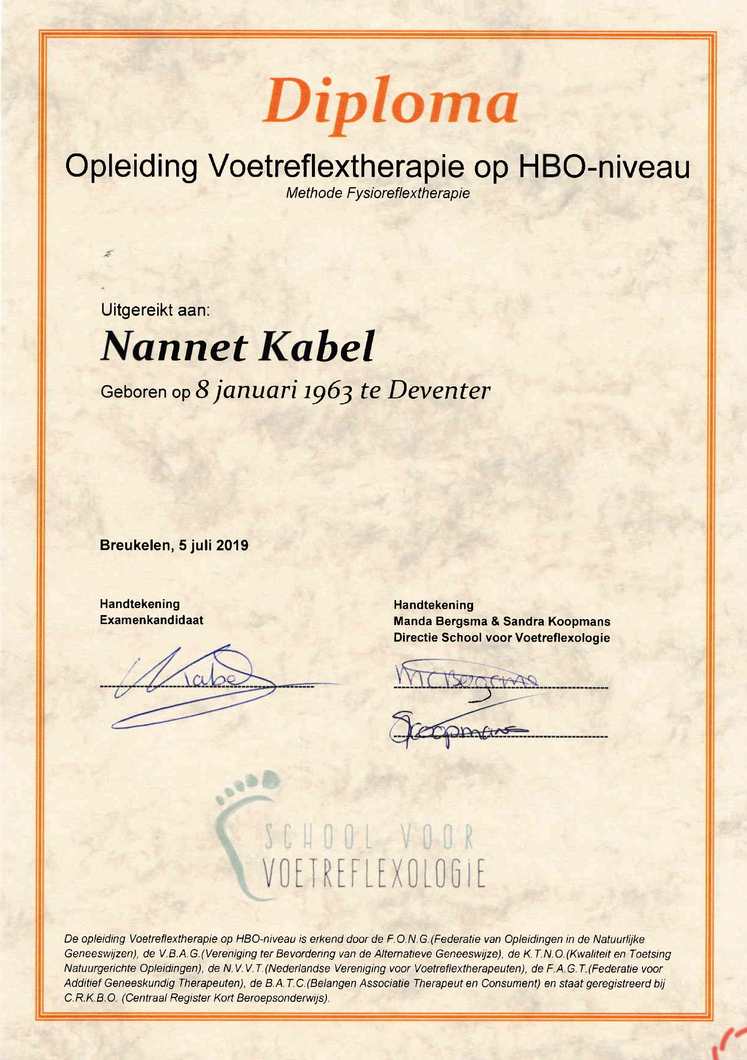 Nannet Kabel Diploma Opleiding Voetreflextherapie HBO
