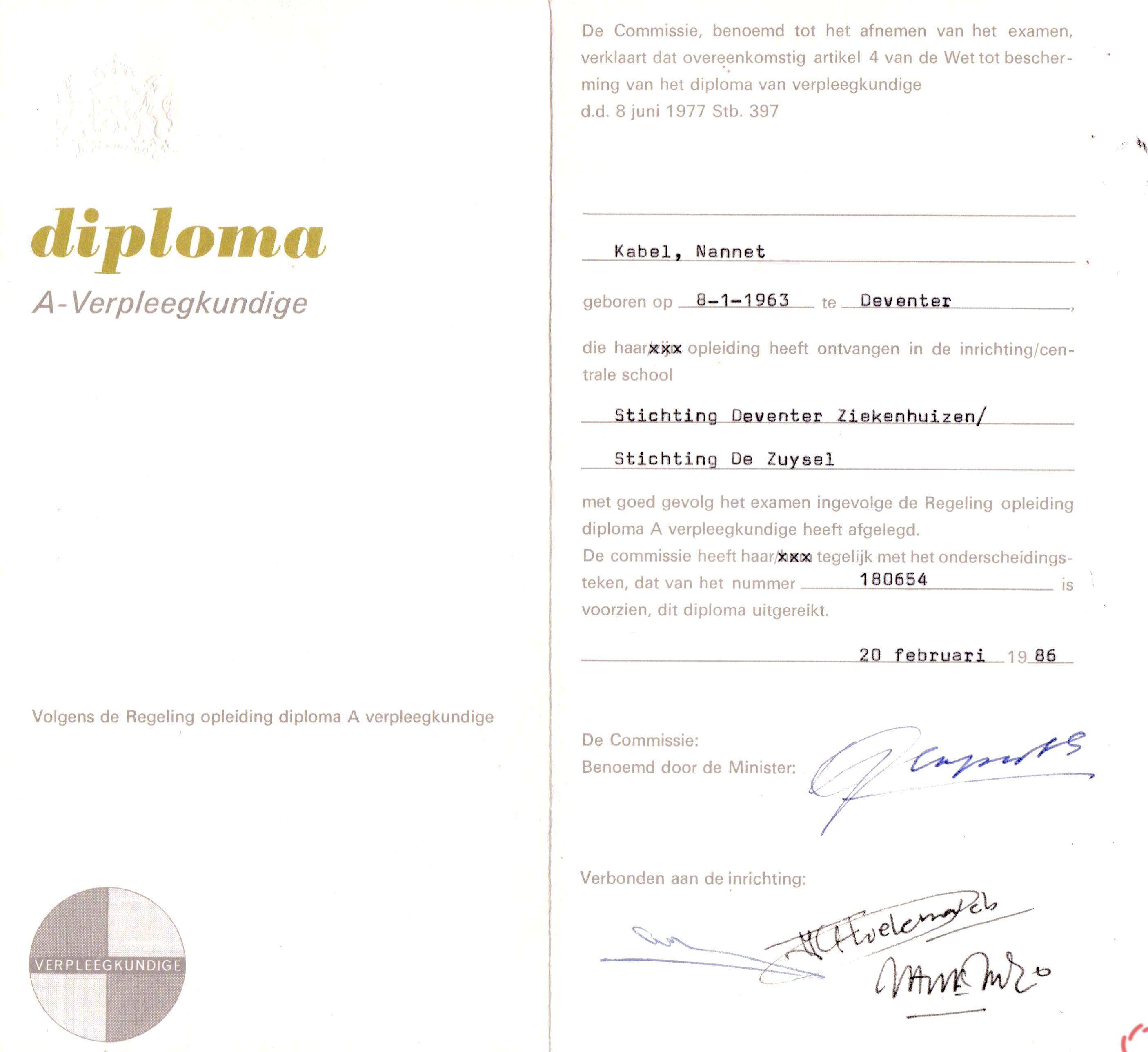 Nannet Kabel Diploma A-verpleegkundige